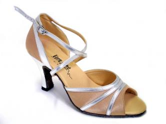 Dance shoes ladies light brown satin / silver